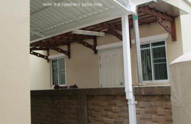 ต่อเติมครัวหลังบ้าน ด้วยกันสาดไวนิล โครงเหล็ก+รางน้ำฝนไฟเบอร์กลาส