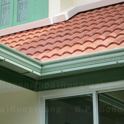 รางน้ำฝน ผลิตจากไฟเบอร์กลาส สีขียวพิเศษ สวยงามคล้ายบัวบ้าน